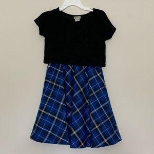 Emily West Blue Plain Sparkle Top Skater Dress